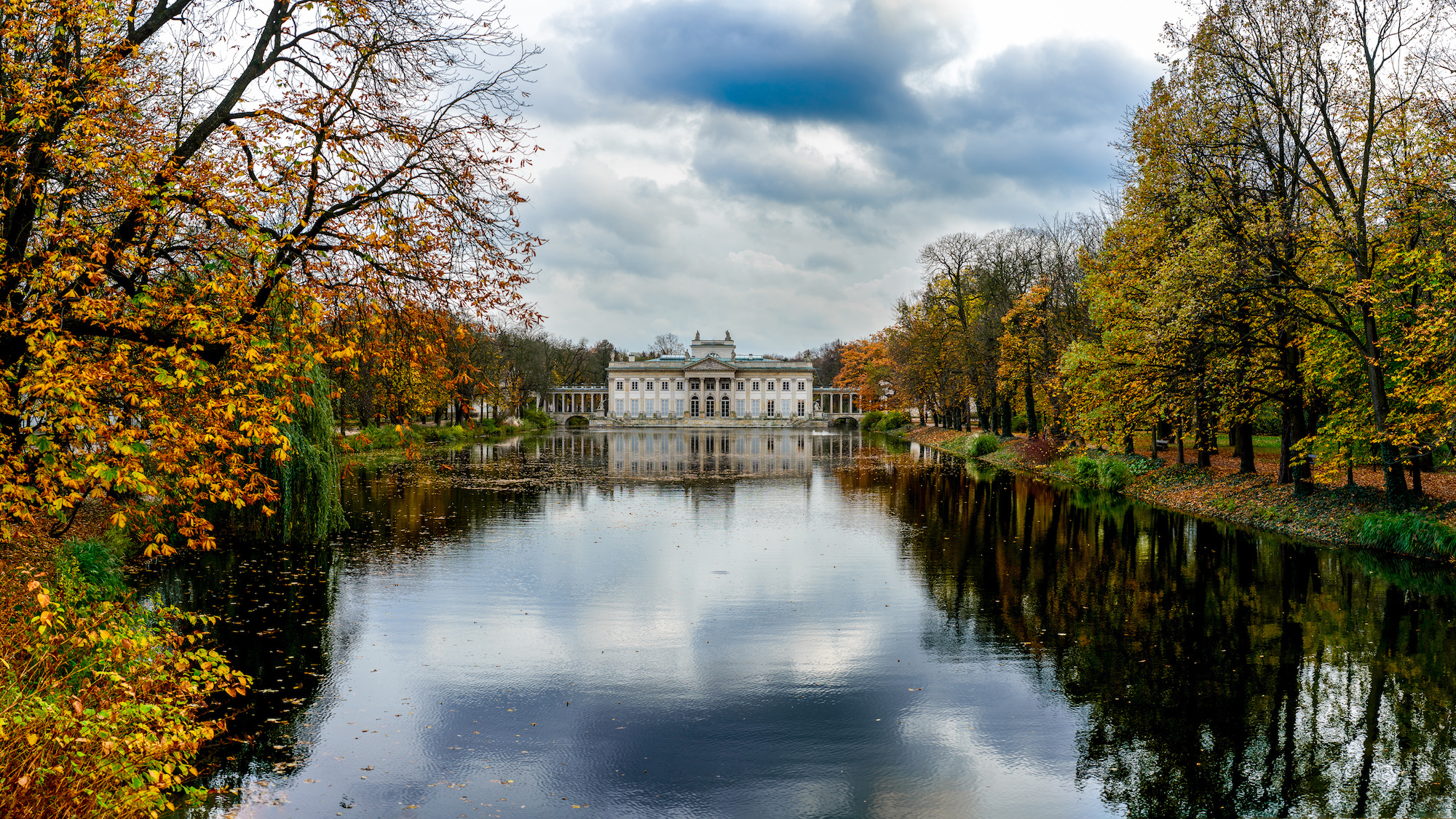Palace on the water in Lazienki Park in Warsaw during autumn