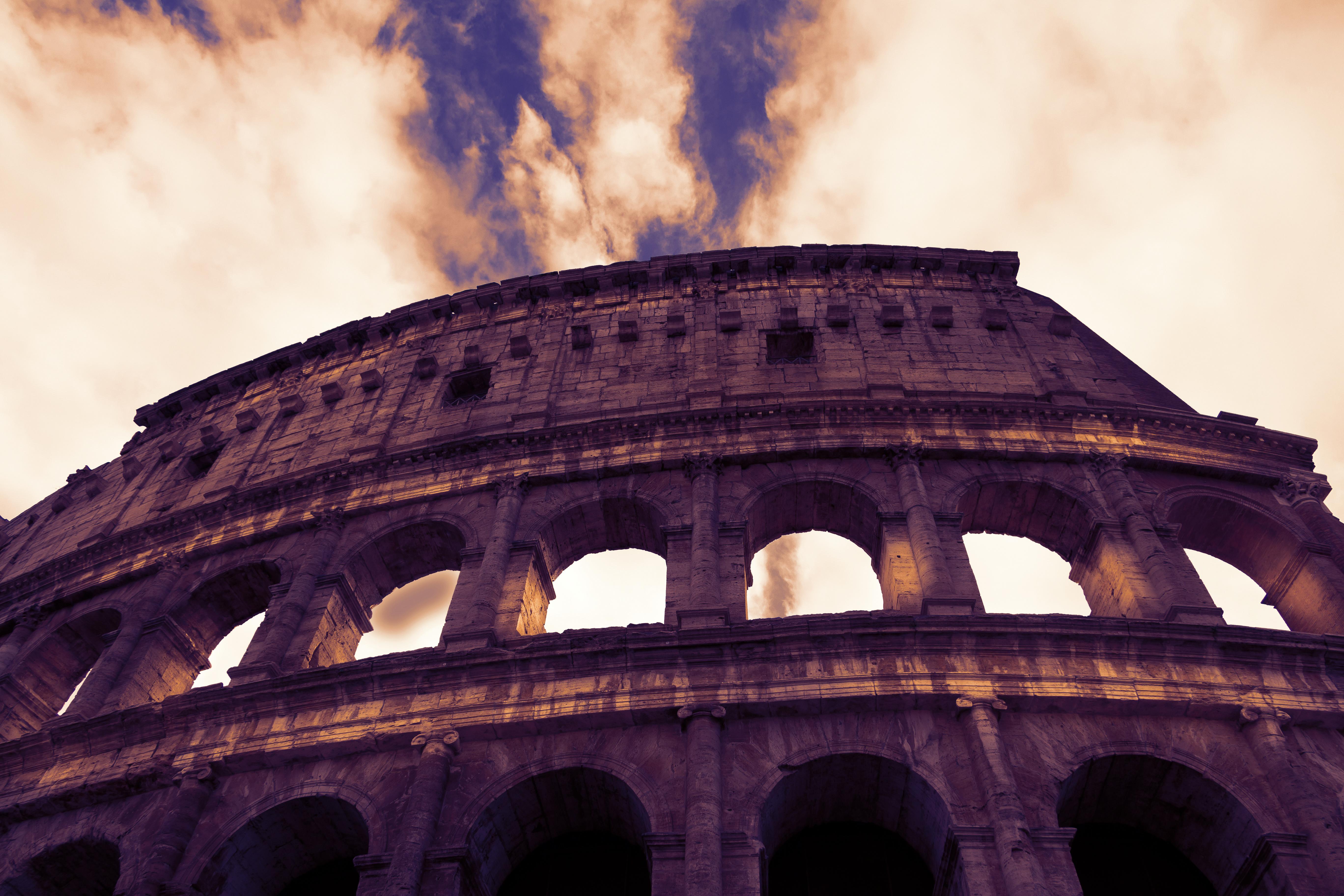 Roman Colloseum in Rome, Italy - low angle