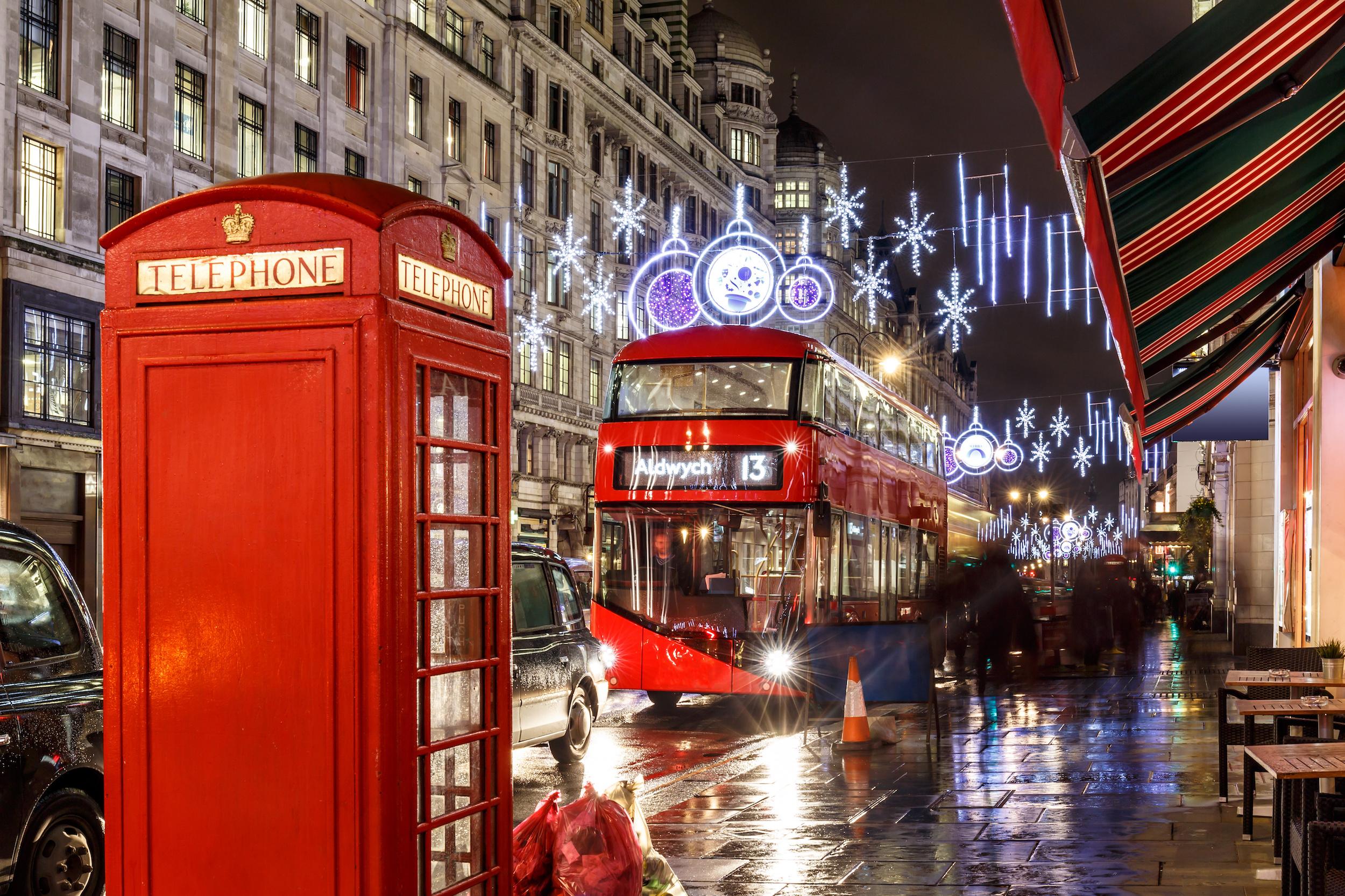 christmas lights on London street