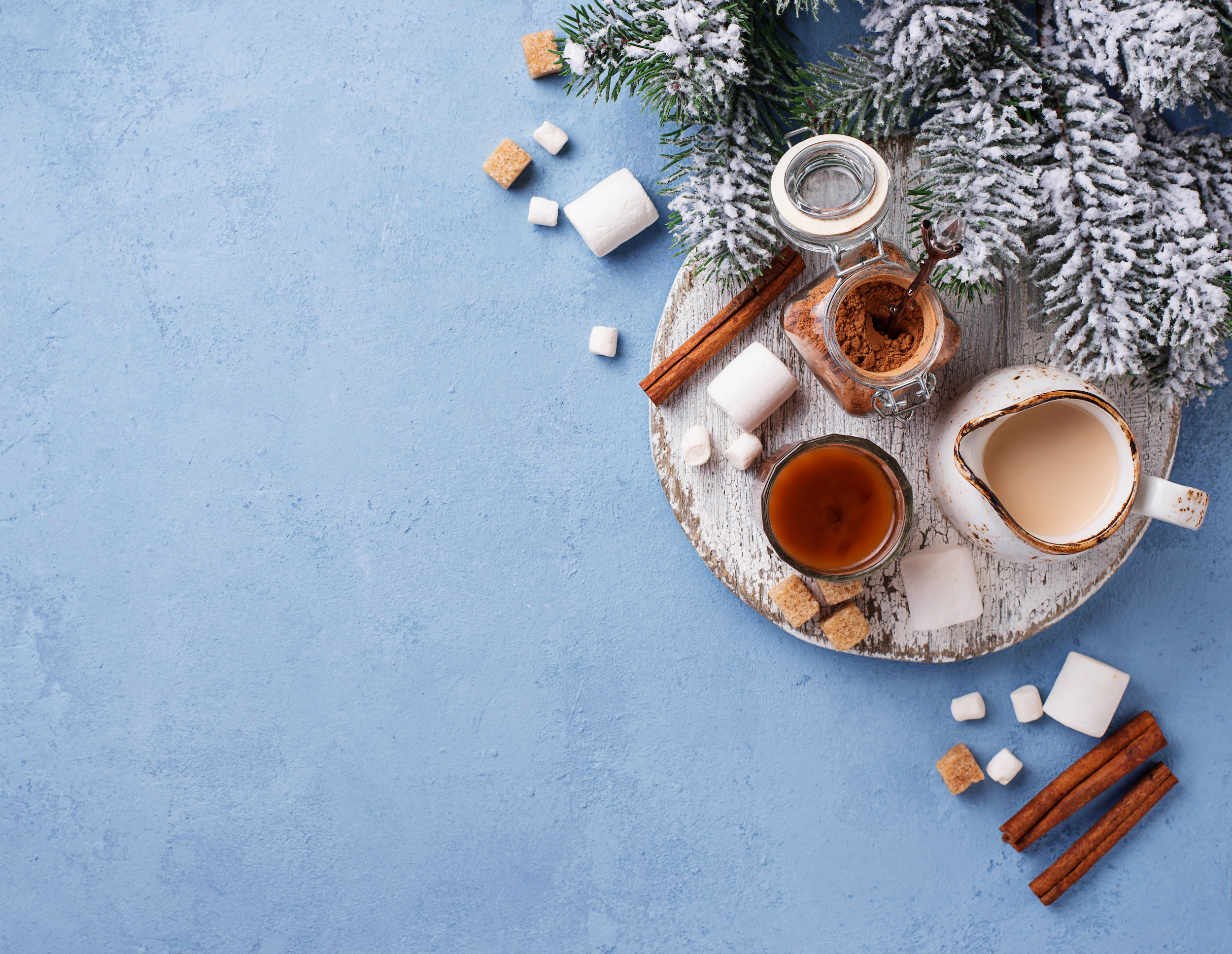 Ingredients for cooking hot chocolate or cocoa drink